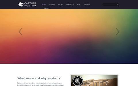 Screenshot of Home Page capturesocialmedia.com - Capture Social Media - Capture the Audience - captured Sept. 30, 2014