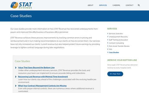 Screenshot of Case Studies Page statrev.com - Case Studies - STAT Revenue - captured Sept. 30, 2017