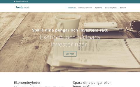 Screenshot of Home Page fondsmart.se - Fondsmart - Fondsmart - Ekonominyheter - captured Jan. 8, 2016