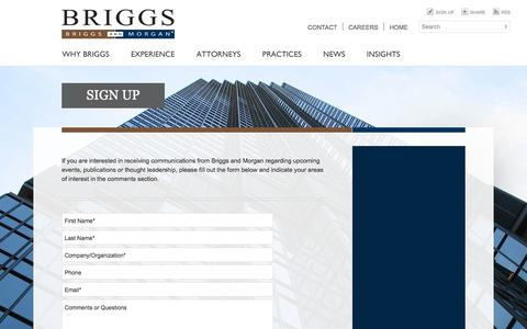 Screenshot of Signup Page briggs.com - Sign Up: Law firm, attorneys, lawyers Minnesota - captured Oct. 5, 2014