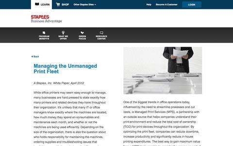 Screenshot of Landing Page staplesadvantage.com - Managing the Unmanaged Print Fleet Whitepaper - captured April 6, 2016