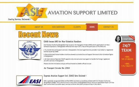 Screenshot of Press Page aviationsupportbd.com - ASL News | Headlines | Success - captured Nov. 21, 2016
