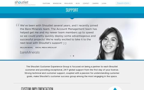 Screenshot of Support Page shoutlet.com - Support   Shoutlet – Enterprise Social Relationship Platform - captured July 18, 2014