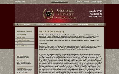 Screenshot of Testimonials Page gvvfh.com - What Families Are Saying - captured Nov. 2, 2014