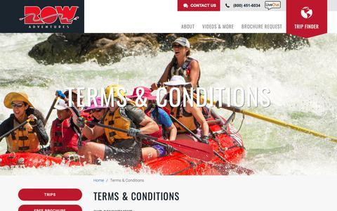 Screenshot of Terms Page rowadventures.com - Terms & Conditions | ROW Adventures - captured Nov. 8, 2018