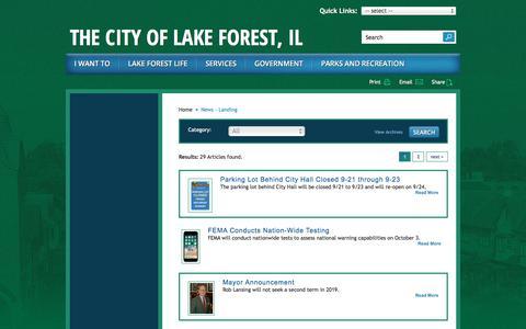 Screenshot of Press Page cityoflakeforest.com - News - Landing | City of Lake Forest - captured Sept. 23, 2018