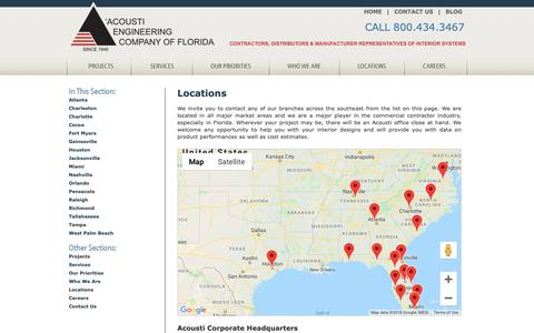 Screenshot of Locations Page acousti.com - Our Locations  - Acousti Commercial Contractors - captured Oct. 2, 2018