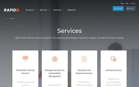 Screenshot of Services Page rapid7.com - Cyber Security Services | Rapid7 - captured Nov. 5, 2018
