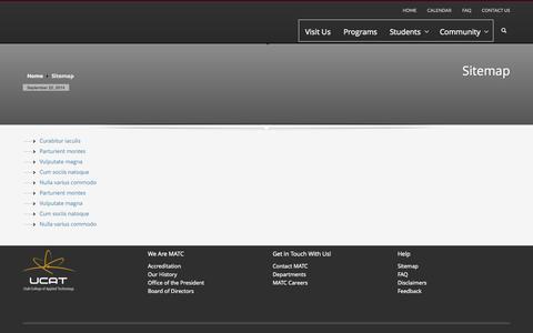 Screenshot of Site Map Page mlatc.edu - MATC | Sitemap - captured Sept. 23, 2014