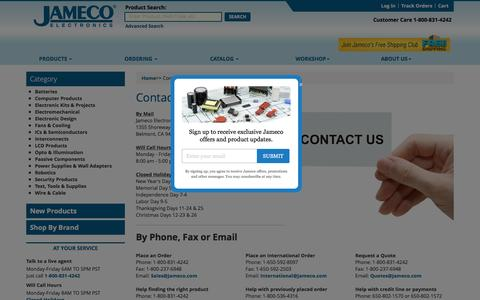 Screenshot of Contact Page jameco.com - Jameco Electronics - Contact Us - captured Oct. 12, 2016