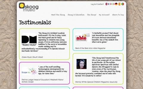Screenshot of Testimonials Page skoogmusic.com - Testimonials | Skoogmusic - captured Oct. 10, 2014
