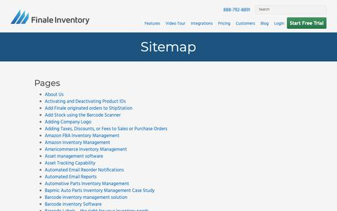 Screenshot of Site Map Page finaleinventory.com - Finale Inventory Sitemap - Find The Page You Need - captured April 9, 2019