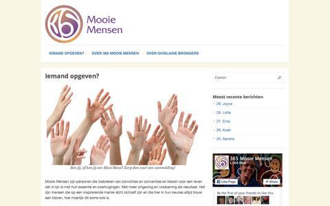 Screenshot of Contact Page 365mooiemensen.nl - Iemand opgeven? | 365 Mooie Mensen - captured Jan. 13, 2016