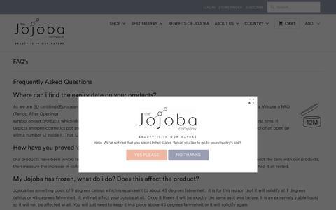 Screenshot of FAQ Page thejojobacompany.com.au - FAQ's - The Jojoba Company Australia - captured Oct. 15, 2017