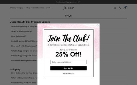 Screenshot of FAQ Page julep.com - FAQs – Julep - captured Aug. 23, 2019