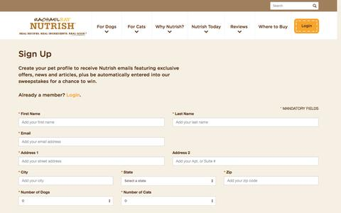 Screenshot of Signup Page nutrish.com - Natural Dog Food & Cat Food   Nutrish Pet Food - captured May 7, 2017