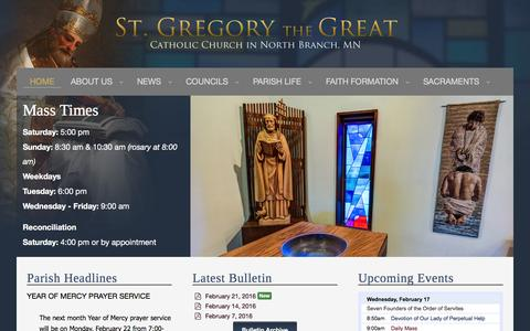 Screenshot of Home Page stgregorynb.org - St. Gregory the Great Catholic Church, North Branch, MN - captured Feb. 17, 2016