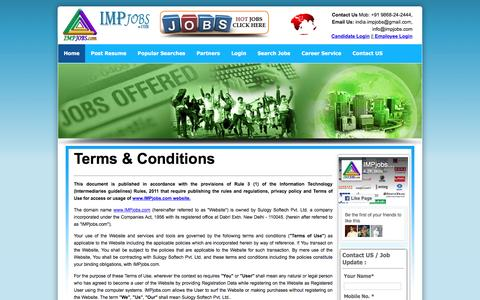 Screenshot of Terms Page impjobs.com - Jobs in India | Search Best Jobs Online | Employment | Vacancy | Recruitment | Job Search | Job Vacancies | Careers in India | Jobs In Delhi - captured Aug. 31, 2016