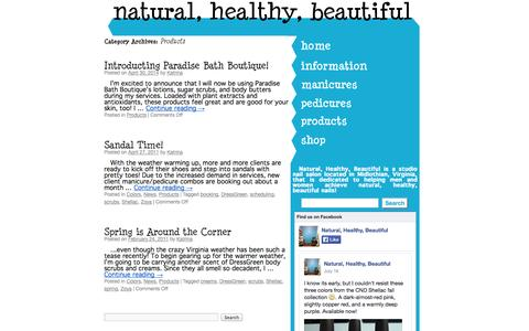 Screenshot of Products Page naturalhealthybeautiful.com - Products | Natural, Healthy, Beautiful - captured Oct. 7, 2014
