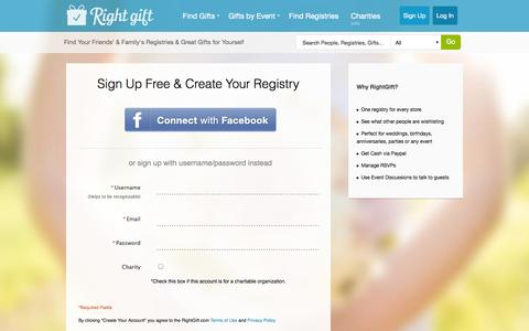 Screenshot of Signup Page rightgift.com - Start Getting the RightGifts - RightGift - captured Oct. 26, 2014