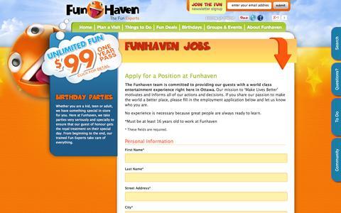 Screenshot of Jobs Page funhaven.com - Jobs at Funhaven Family Fun Centre   Fun Centre Employment   Ottawa, Ontario Canada - captured Oct. 6, 2014