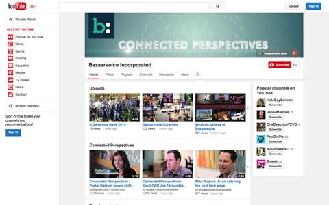 Screenshot of YouTube Page youtube.com - Bazaarvoice Incorporated  - YouTube - captured Oct. 25, 2014