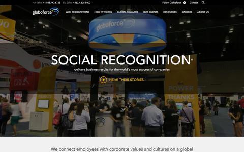 Screenshot of Home Page globoforce.com - Employee Recognition and Rewards | Globoforce - captured Dec. 4, 2015