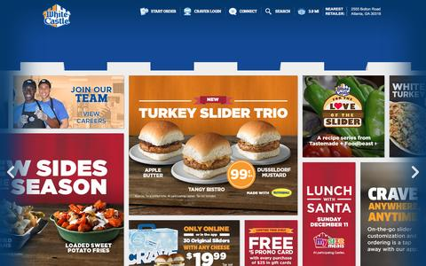Screenshot of Home Page whitecastle.com - White Castle - captured Dec. 3, 2016