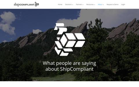 Screenshot of Testimonials Page shipcompliant.com - Testimonials - ShipCompliant   The software leader of the beverage alcohol industry - captured Jan. 24, 2016