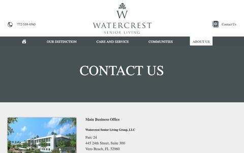 Screenshot of About Page Contact Page watercrestseniorliving.com - Contact Us | Watercrest Senior Living - captured Oct. 20, 2018