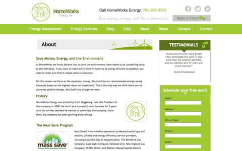Screenshot of About Page homeworksenergy.com - About Us | Homeworks Energy - captured Sept. 30, 2014