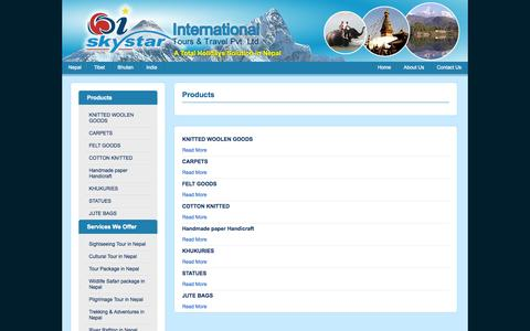 Screenshot of Products Page skystartravels.com - Products - captured Oct. 3, 2014
