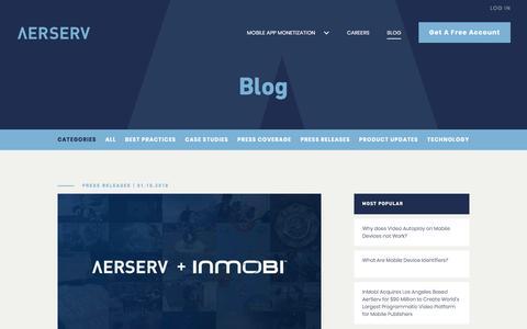 Screenshot of Blog aerserv.com - Blog - AerServ - captured Jan. 15, 2018