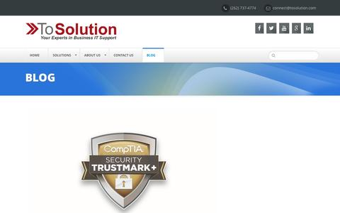 Screenshot of Blog tosolution.com - Blog - ToSolution | Your Experts in Business IT Support - captured May 14, 2016
