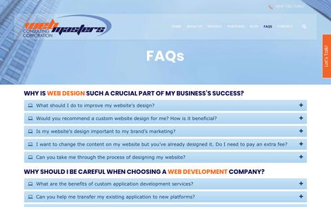 Screenshot of FAQ Page webmasterscorp.com - FAQs - Web Design & Marketing | Vancouver BC - captured Oct. 21, 2018