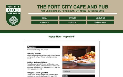 Screenshot of Menu Page theportcitycafeandpub.com - Menu - captured Oct. 2, 2014