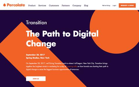 Transition Conference | Percolate | The Year's Can't-Miss Marketing Event