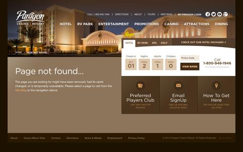 Screenshot of About Page paragoncasinoresort.com - Welcome to Paragon Casino Resort in Marksville, Louisiana! - Page not found... - captured Oct. 1, 2014