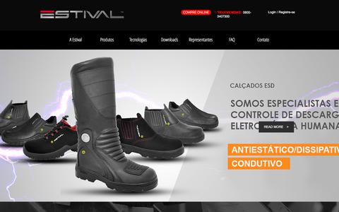Screenshot of Home Page estivalshoes.com - Estival Calcados de Seguranca e Adventure - captured July 20, 2018