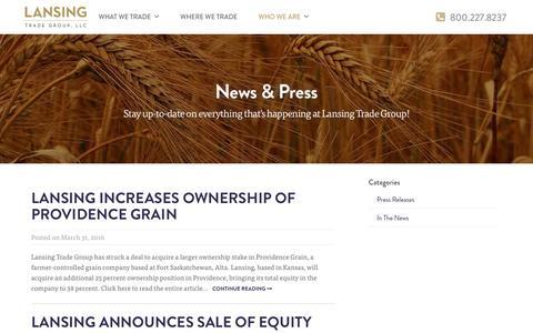 Screenshot of Press Page lansingtradegroup.com - News | Lansing Trade Group - captured Oct. 25, 2016