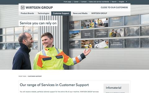 Screenshot of Support Page wirtgen-group.com - Our range of Services in Customer Support - WIRTGEN GROUP - captured March 31, 2017