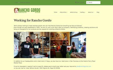 Screenshot of Jobs Page ranchogordo.com - Working for Rancho Gordo - captured Nov. 25, 2016