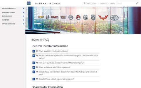 Screenshot of FAQ Page gm.com - General Motors Investors FAQ   GM.com - captured April 14, 2017