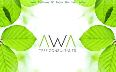 Screenshot of Home Page awatrees.com - AWA Tree Consultants, Arboriculturist Tree Surveys, Yorkshire & UK - captured Feb. 5, 2016