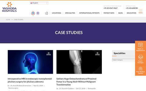 Screenshot of Case Studies Page yashodahospitals.com - Case Studies - captured Nov. 6, 2018