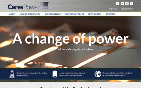Screenshot of Home Page cerespower.com - Home | Ceres Power - captured Sept. 29, 2014