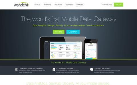 Screenshot of Home Page wandera.com - Wandera - Mobile Data Gateway   Mobile Data Compression, Analytics, Security - captured July 12, 2014