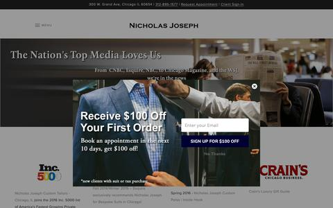 Screenshot of Press Page customsuitsyou.com - The Nation's Top Media Loves Us | Nicholas Joseph - captured Oct. 18, 2018