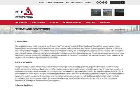 Screenshot of Terms Page redresort.com - Terms and Conditions | RED Mountain Resort - captured Sept. 22, 2016