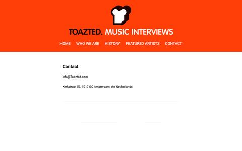Screenshot of Contact Page toazted.com - Contact   Toazted. Music Interviews - captured Feb. 16, 2016